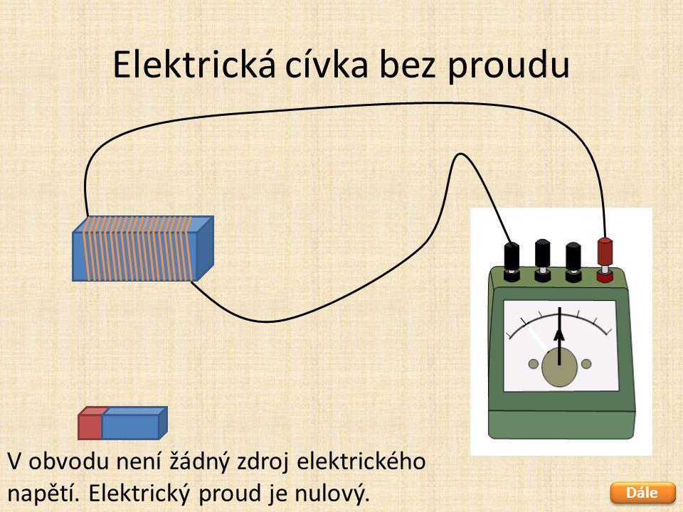 Elektrická cívka bez proudu Dále V obvodu není žádný zdroj elektrického napětí. Elektrický proud je nulový.