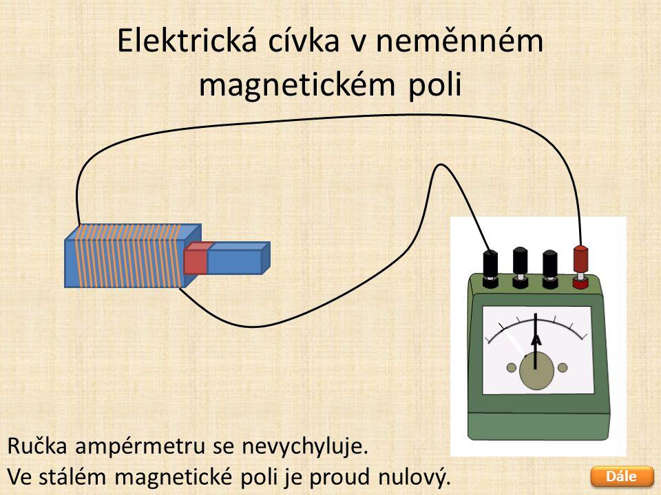 Elektrická cívka v neměnném magnetickém poli Dále Ručka ampérmetru se nevychyluje. Ve stálém magnetické poli je proud nulový.