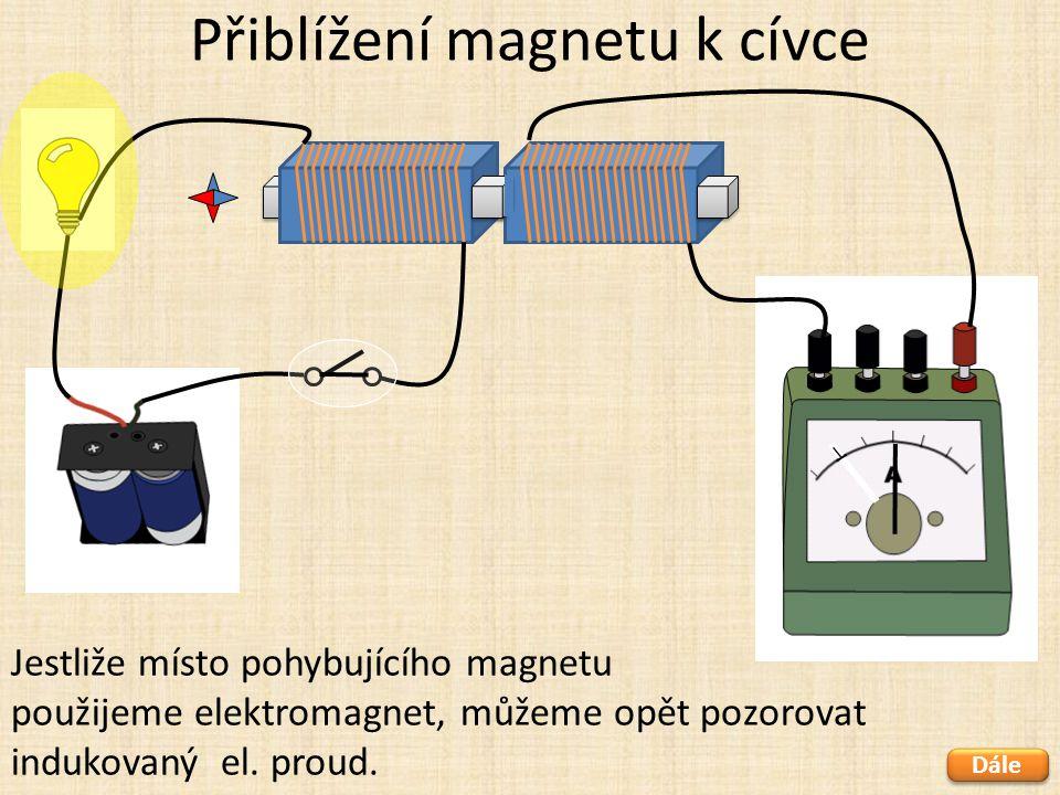 Přiblížení magnetu k cívce Dále Jestliže místo pohybujícího magnetu použijeme elektromagnet, můžeme opět pozorovat indukovaný el. proud.