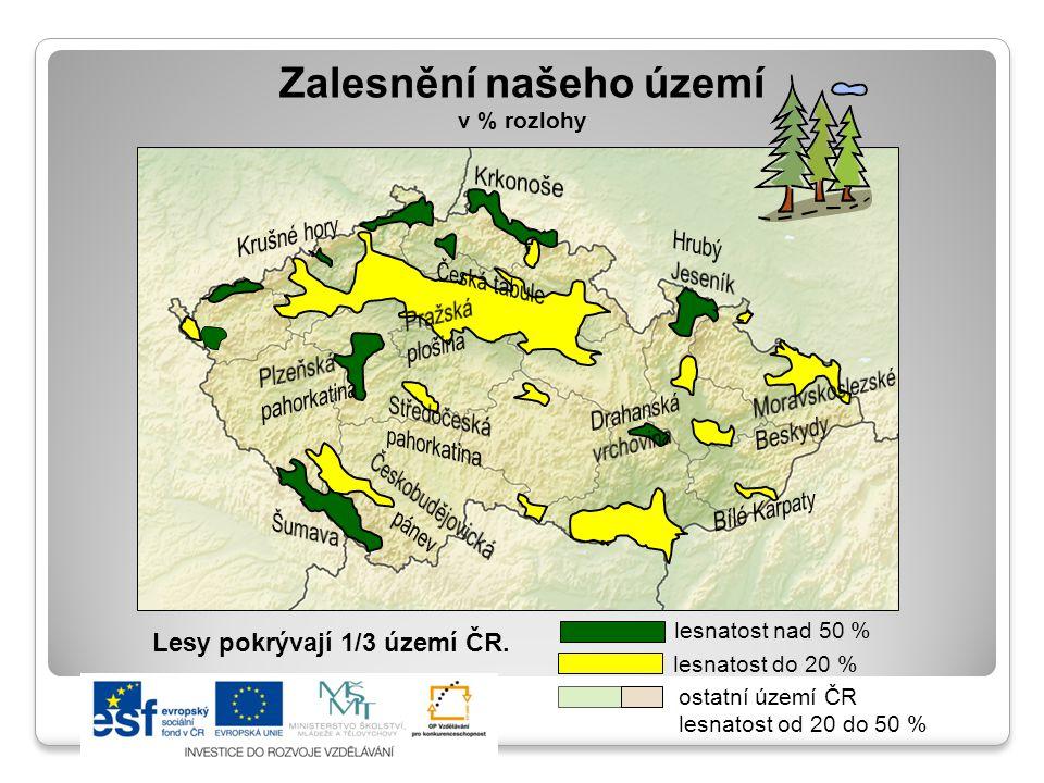 Zalesnění našeho území v % rozlohy lesnatost nad 50 % lesnatost do 20 % ostatní území ČR lesnatost od 20 do 50 % Lesy pokrývají 1/3 území ČR.