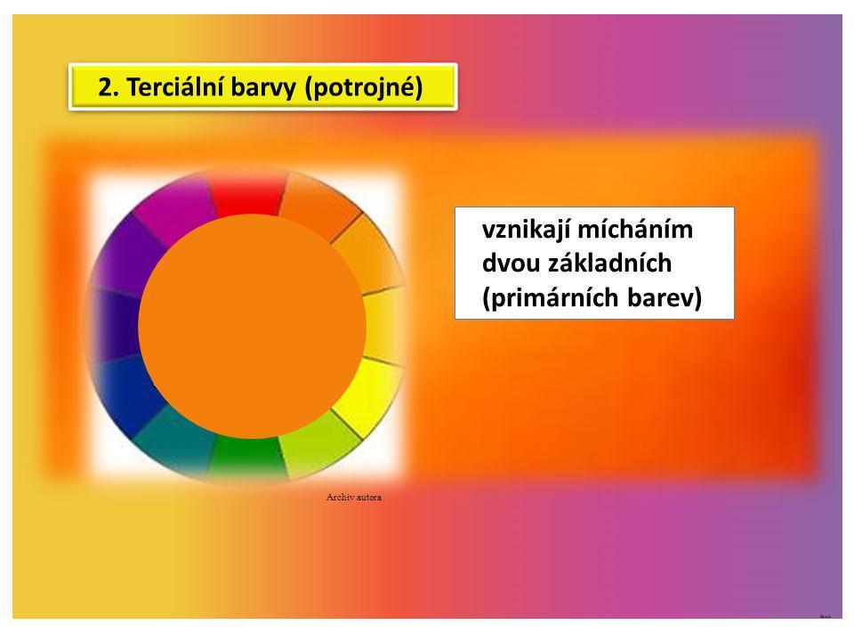 ©c.zuk 2. Terciální barvy (potrojné) vznikají mícháním dvou základních (primárních barev) Archiv autora