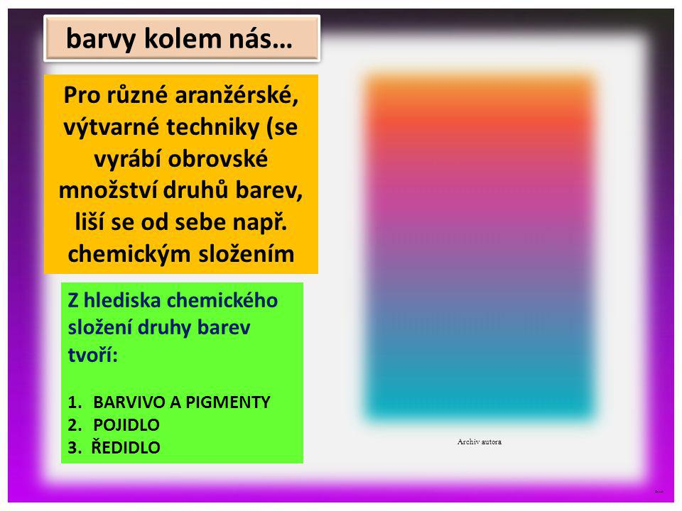©c.zuk Z hlediska chemického složení druhy barev tvoří: 1.BARVIVO A PIGMENTY 2.POJIDLO 3. ŘEDIDLO Pro různé aranžérské, výtvarné techniky (se vyrábí o