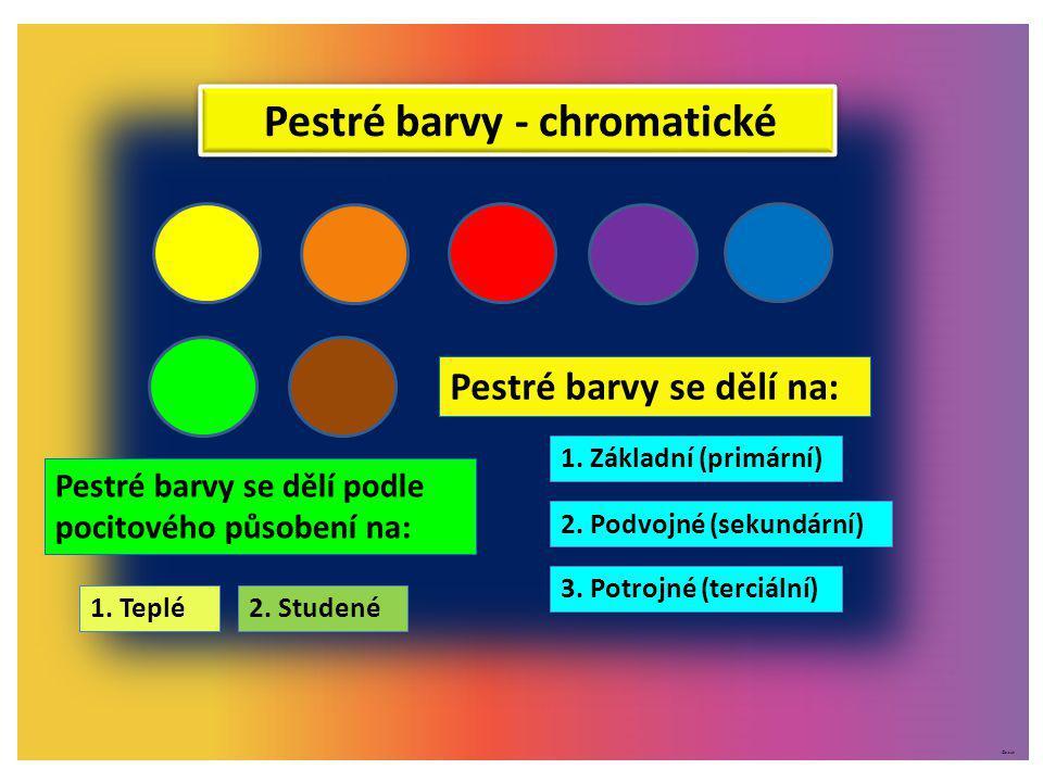 ©c.zuk Pestré barvy se dělí na: 1. Základní (primární) 2. Podvojné (sekundární) 3. Potrojné (terciální) Pestré barvy se dělí podle pocitového působení