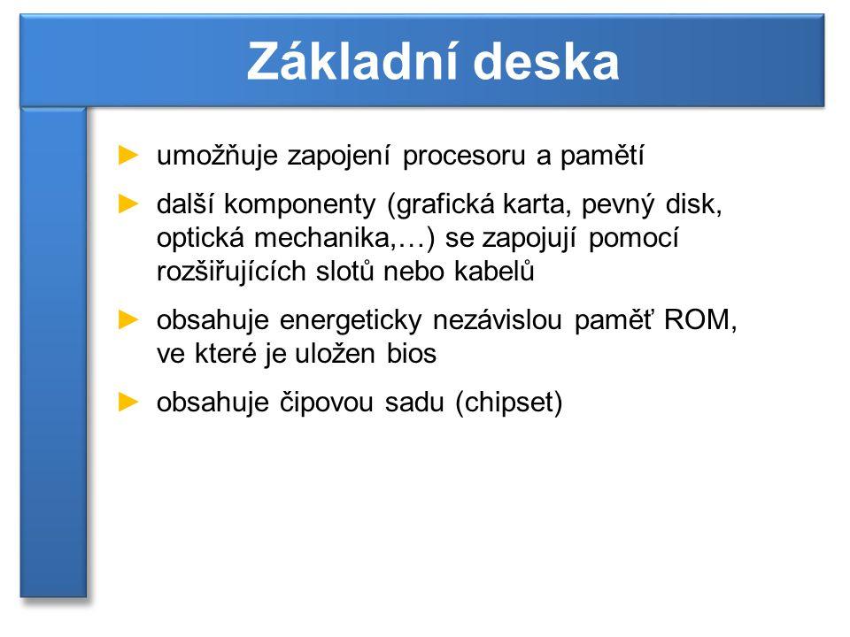 ►umožňuje zapojení procesoru a pamětí ►další komponenty (grafická karta, pevný disk, optická mechanika,…) se zapojují pomocí rozšiřujících slotů nebo