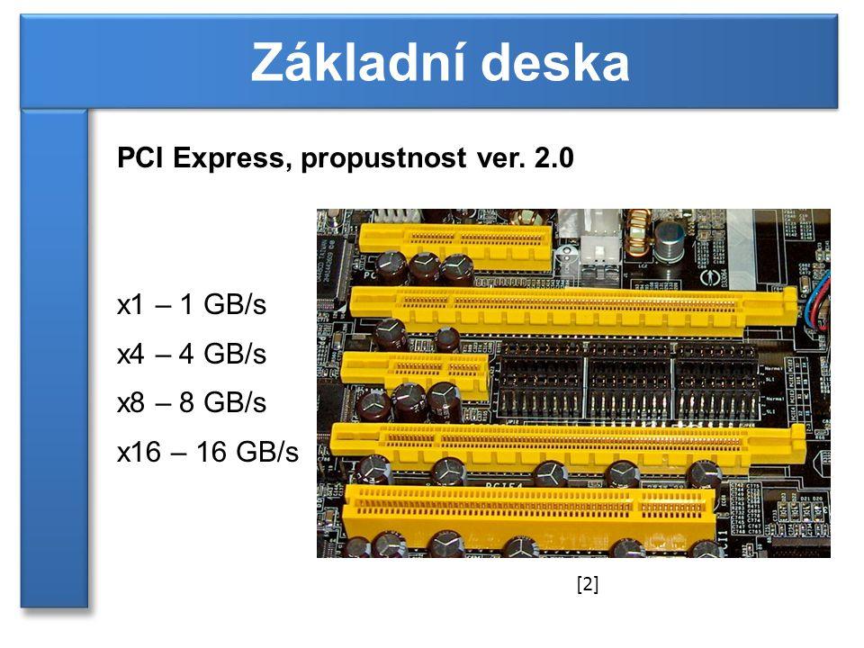 PCI Express, propustnost ver. 2.0 x1 – 1 GB/s x4 – 4 GB/s x8 – 8 GB/s x16 – 16 GB/s Základní deska [2]