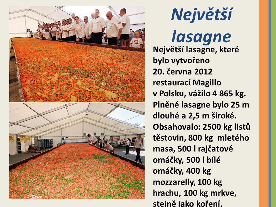 Největší lasagne Největší lasagne, které bylo vytvořeno 20.