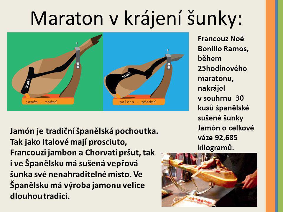 Maraton v krájení šunky: Francouz Noé Bonillo Ramos, během 25hodinového maratonu, nakrájel v souhrnu 30 kusů španělské sušené šunky Jamón o celkové váze 92,685 kilogramů.