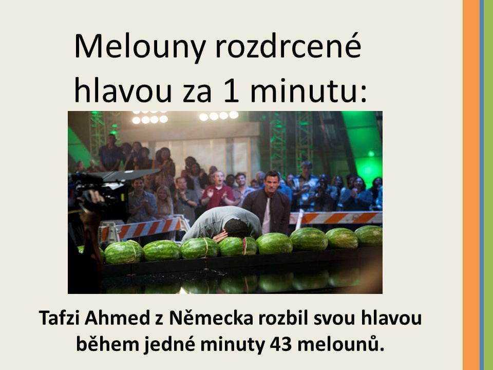 Tafzi Ahmed z Německa rozbil svou hlavou během jedné minuty 43 melounů.