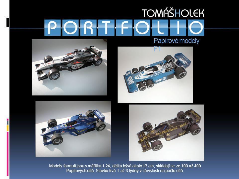Kraz 255B Papírové modely F1 Modely formulí jsou v měřítku 1:24, délka bývá okolo 17 cm, skládají se ze 100 až 400 Papírových dílů.