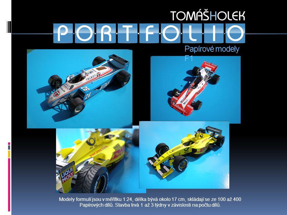 Papírové modely F1 Modely formulí jsou v měřítku 1:24, délka bývá okolo 17 cm, skládají se ze 100 až 400 Papírových dílů.