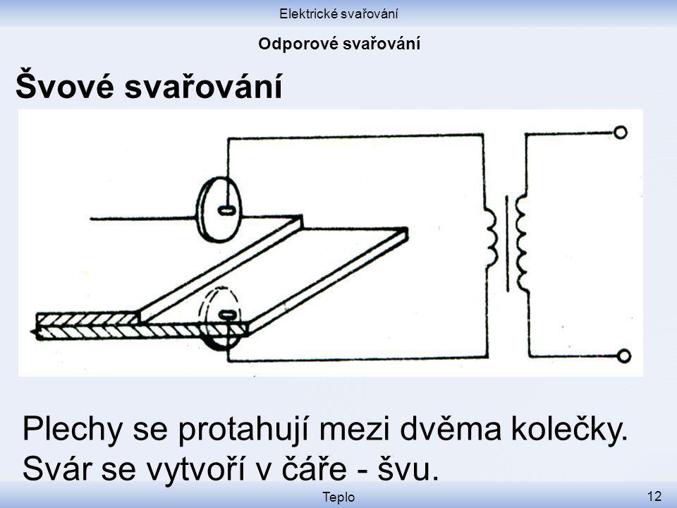 Elektrické svařování Teplo 12 Švové svařování Plechy se protahují mezi dvěma kolečky.