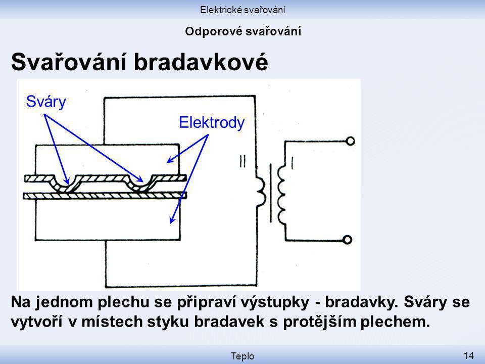 Elektrické svařování Teplo 14 Svařování bradavkové Na jednom plechu se připraví výstupky - bradavky.
