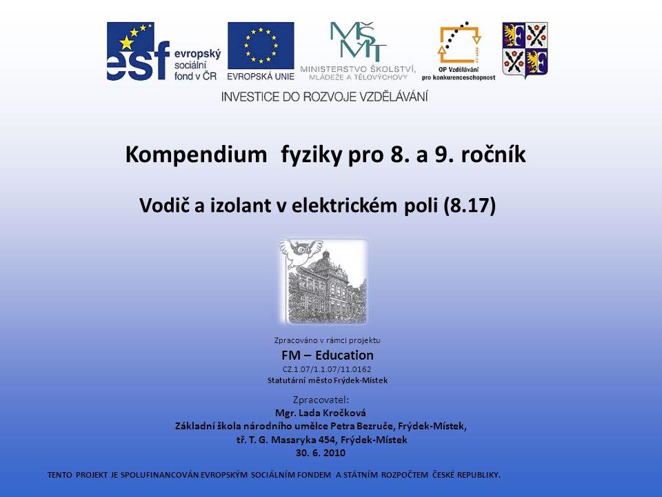 VODIČ A IZOLANT V ELEKTRICKÉM POLI 8.17 Učivo: Elektrostatická indukce, polarizace izolantu