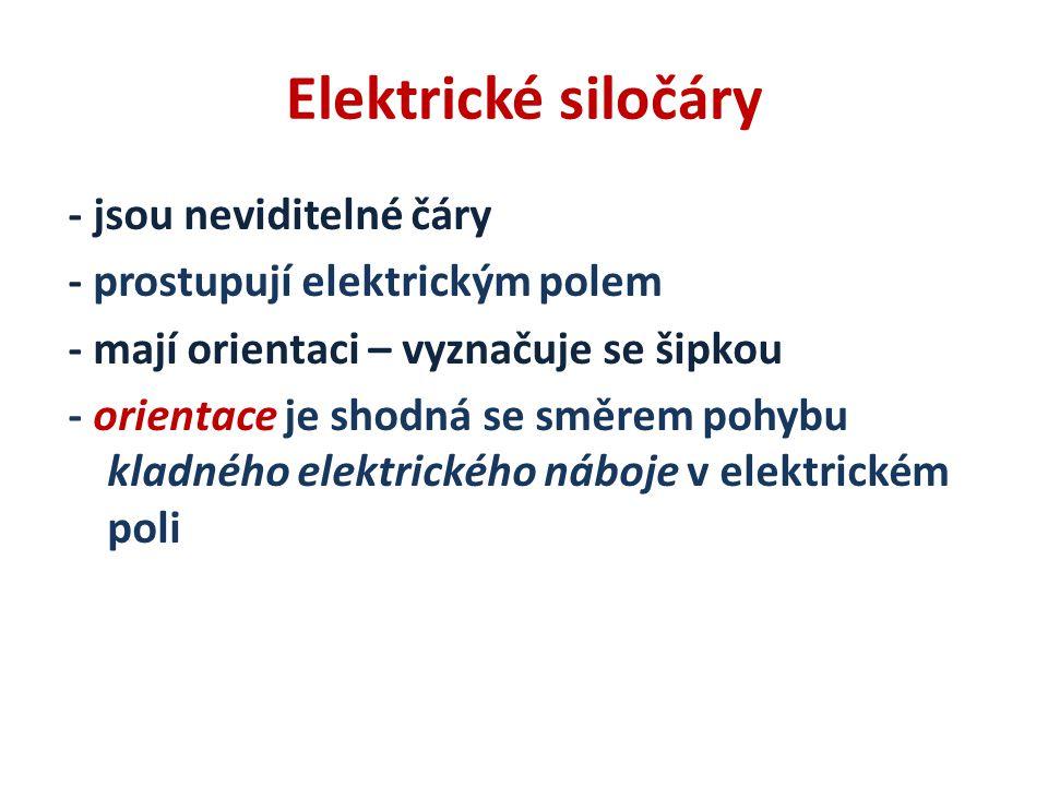Elektrické siločáry - jsou neviditelné čáry - prostupují elektrickým polem - mají orientaci – vyznačuje se šipkou - orientace je shodná se směrem pohy