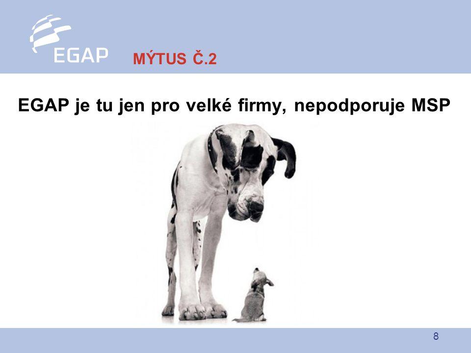 8 EGAP je tu jen pro velké firmy, nepodporuje MSP MÝTUS Č.2