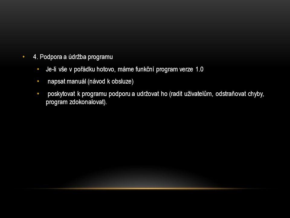 4. Podpora a údržba programu Je-li vše v pořádku hotovo, máme funkční program verze 1.0 napsat manuál (návod k obsluze) poskytovat k programu podporu