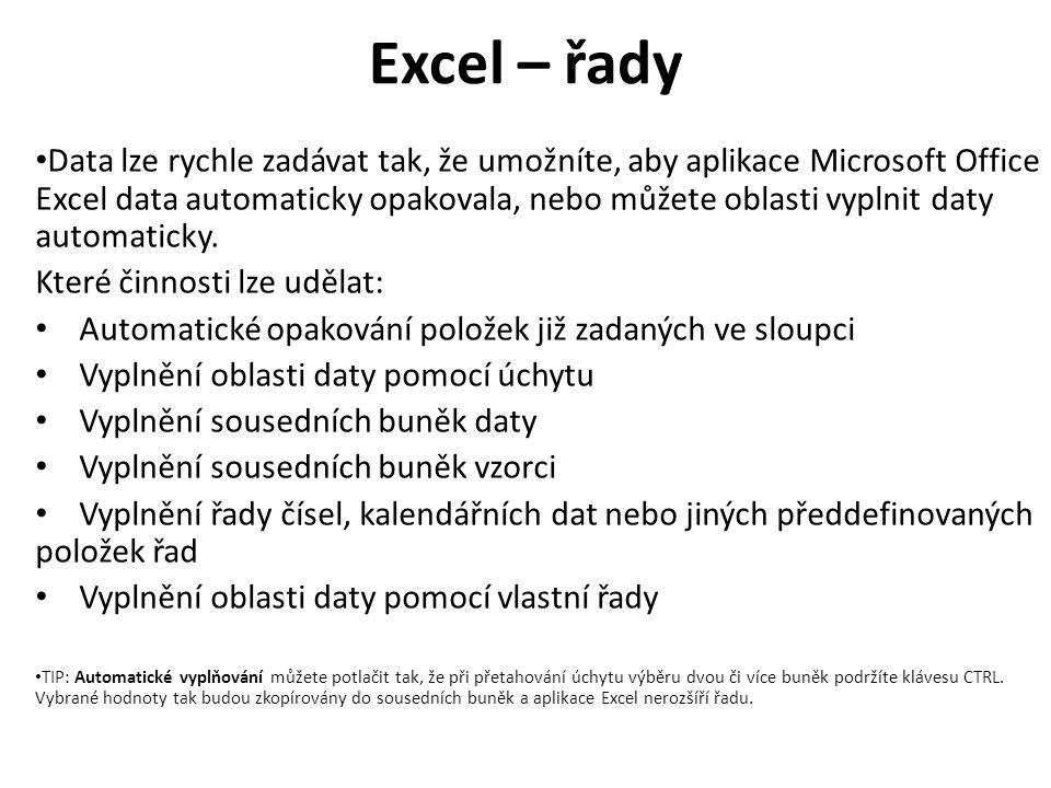 Excel – řady Data lze rychle zadávat tak, že umožníte, aby aplikace Microsoft Office Excel data automaticky opakovala, nebo můžete oblasti vyplnit daty automaticky.