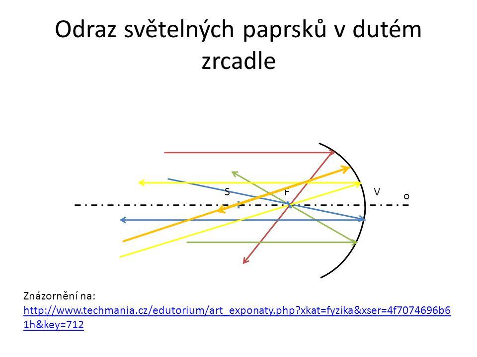 Odraz světelných paprsků v dutém zrcadle FS o V Znázornění na: http://www.techmania.cz/edutorium/art_exponaty.php?xkat=fyzika&xser=4f7074696b6 1h&key=712 http://www.techmania.cz/edutorium/art_exponaty.php?xkat=fyzika&xser=4f7074696b6 1h&key=712