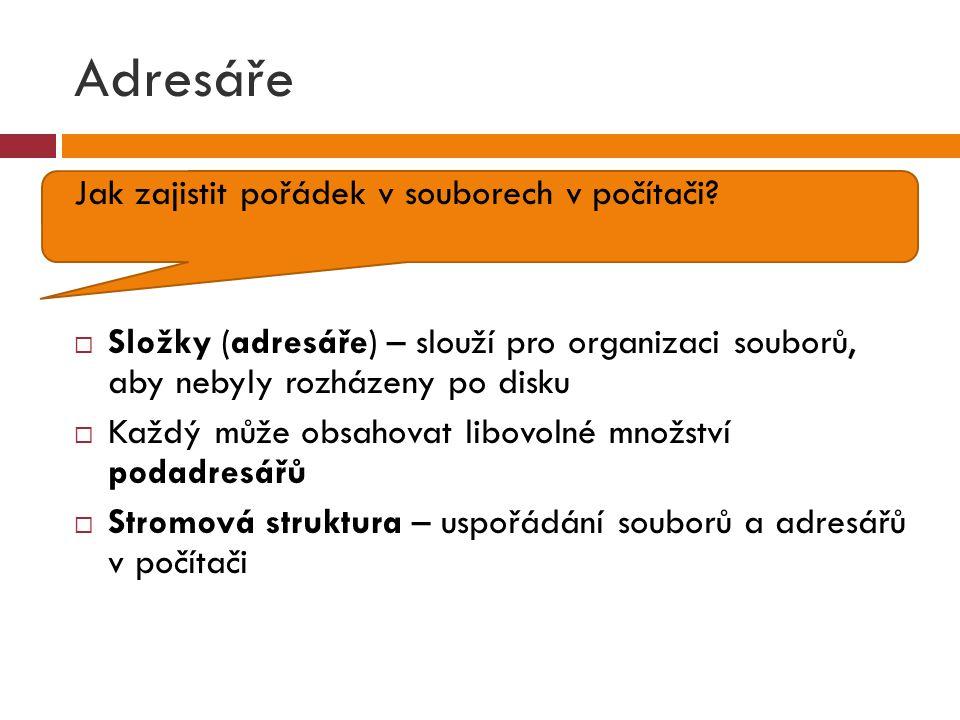 Cesta souboru  Adresa, přesný popis umístění na disku  Např.