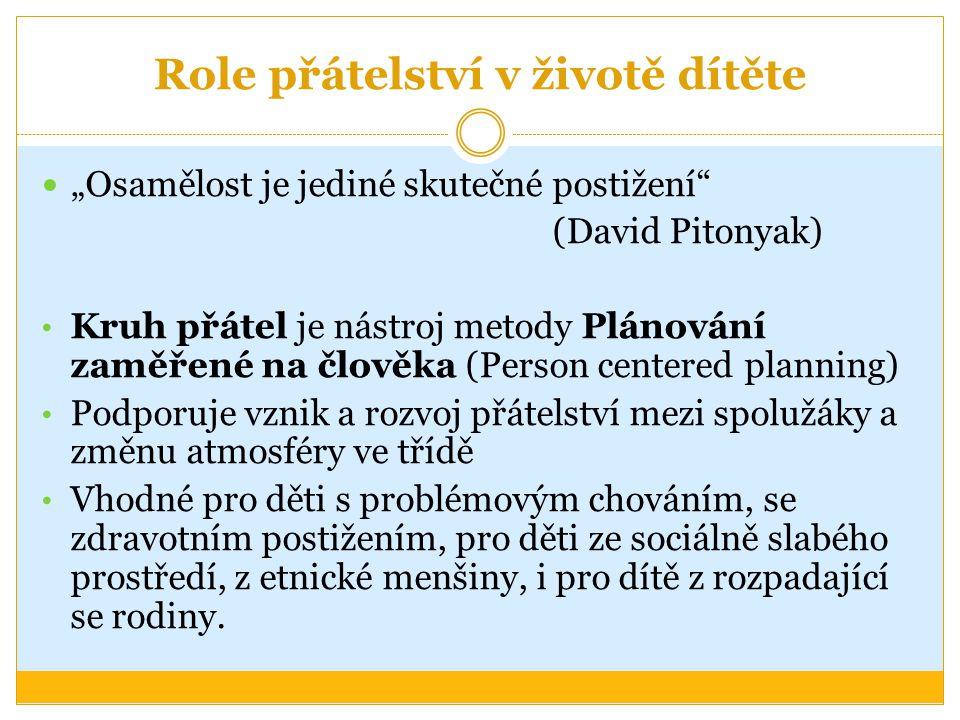 """Role přátelství v životě dítěte """"Osamělost je jediné skutečné postižení"""" (David Pitonyak) Kruh přátel je nástroj metody Plánování zaměřené na člověka"""