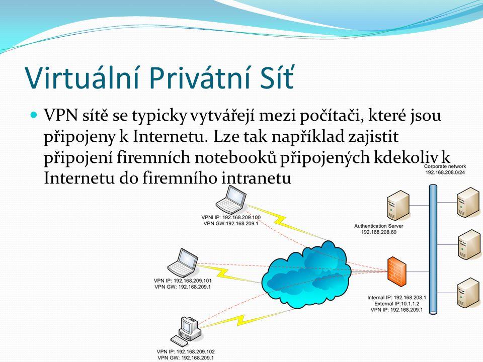Virtuální Privátní Síť VPN sítě se typicky vytvářejí mezi počítači, které jsou připojeny k Internetu.