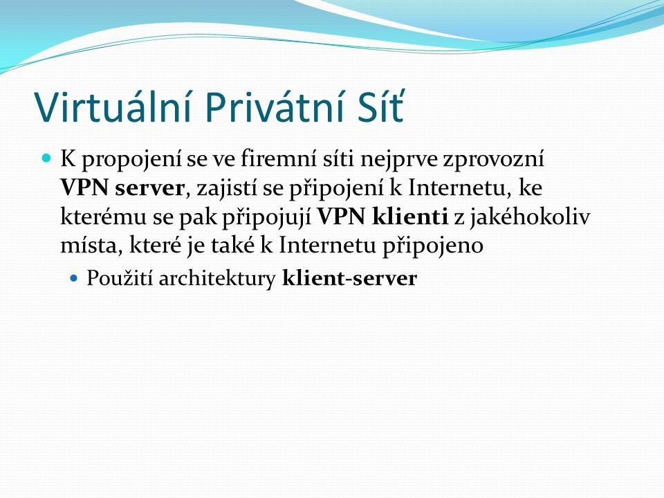 Virtuální Privátní Síť K propojení se ve firemní síti nejprve zprovozní VPN server, zajistí se připojení k Internetu, ke kterému se pak připojují VPN klienti z jakéhokoliv místa, které je také k Internetu připojeno Použití architektury klient-server