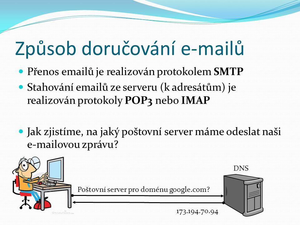 Přenos emailů je realizován protokolem SMTP Stahování emailů ze serveru (k adresátům) je realizován protokoly POP3 nebo IMAP Jak zjistíme, na jaký poštovní server máme odeslat naši e-mailovou zprávu.