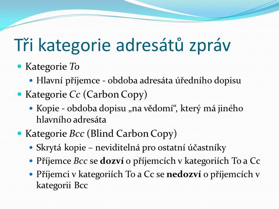 """Tři kategorie adresátů zpráv Kategorie To Hlavní příjemce - obdoba adresáta úředního dopisu Kategorie Cc (Carbon Copy) Kopie - obdoba dopisu """"na vědomí , který má jiného hlavního adresáta Kategorie Bcc (Blind Carbon Copy) Skrytá kopie – neviditelná pro ostatní účastníky Příjemce Bcc se dozví o příjemcích v kategoriích To a Cc Příjemci v kategoriích To a Cc se nedozví o příjemcích v kategorii Bcc"""
