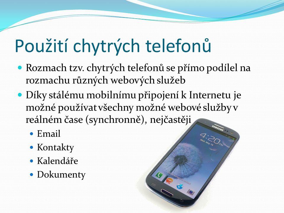 Použití chytrých telefonů Rozmach tzv.