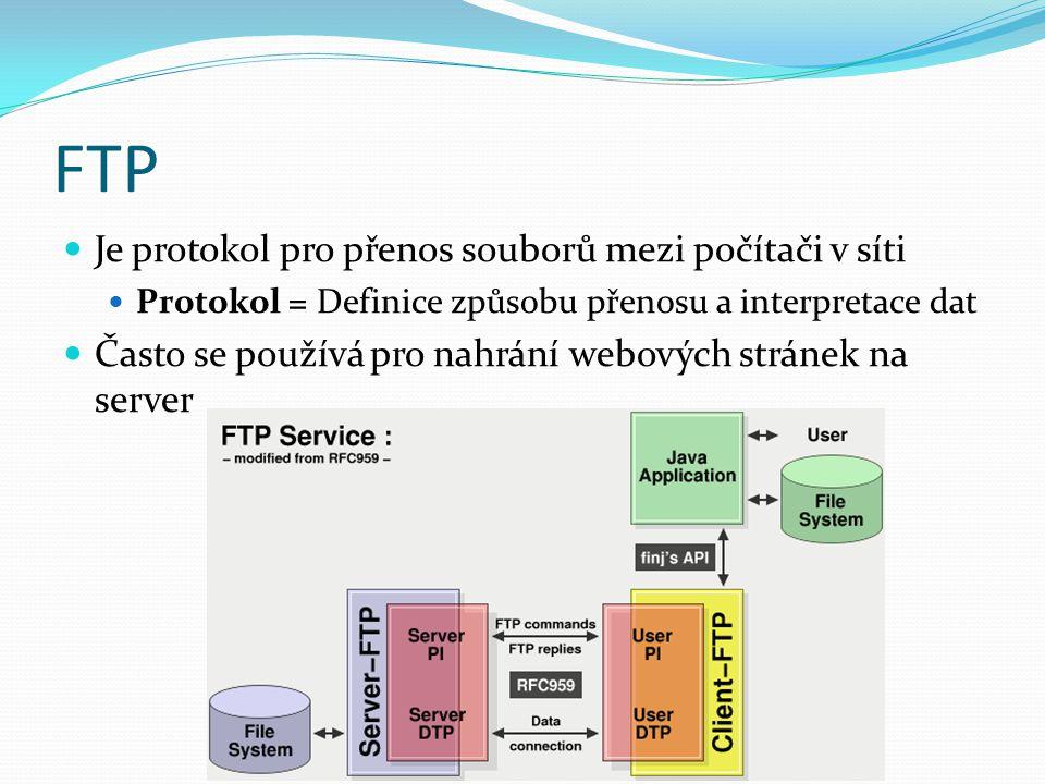 FTP Je protokol pro přenos souborů mezi počítači v síti Protokol = Definice způsobu přenosu a interpretace dat Často se používá pro nahrání webových stránek na server