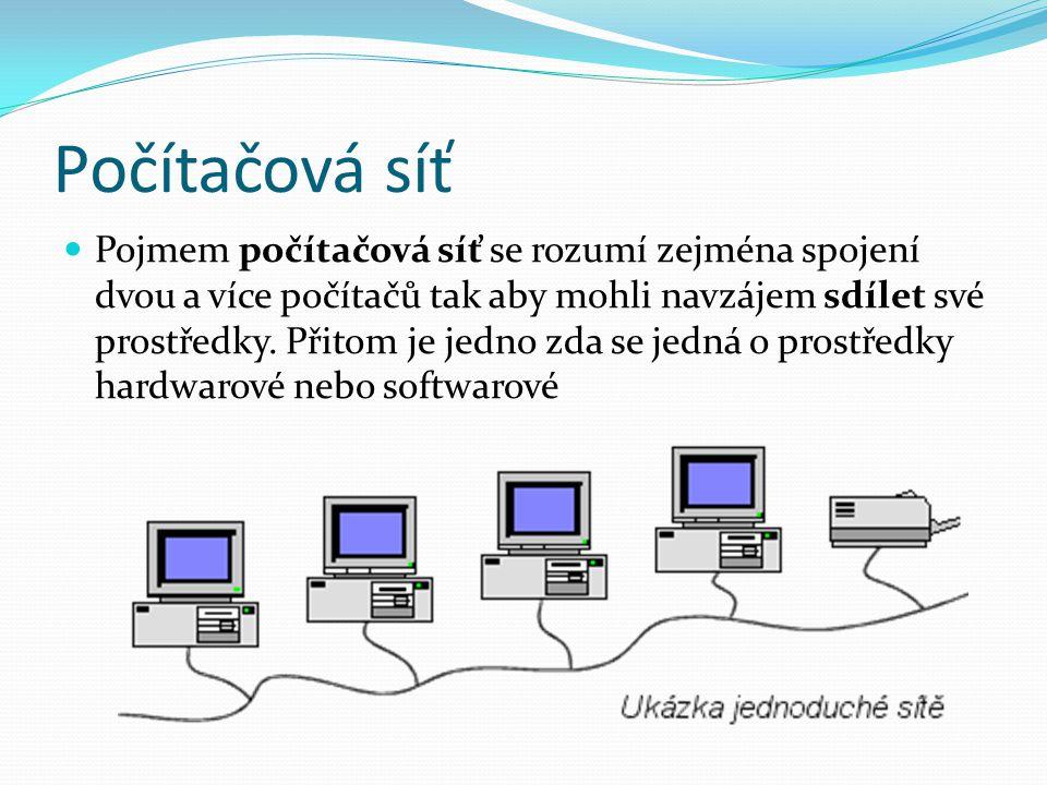 Počítačová síť Pojmem počítačová síť se rozumí zejména spojení dvou a více počítačů tak aby mohli navzájem sdílet své prostředky.