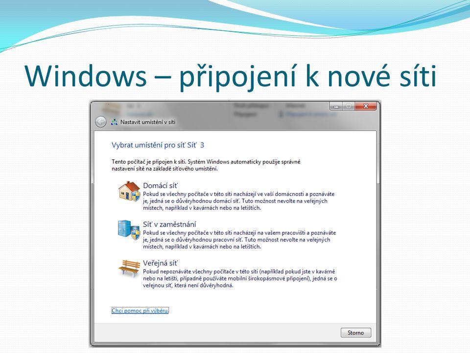 Windows – připojení k nové síti