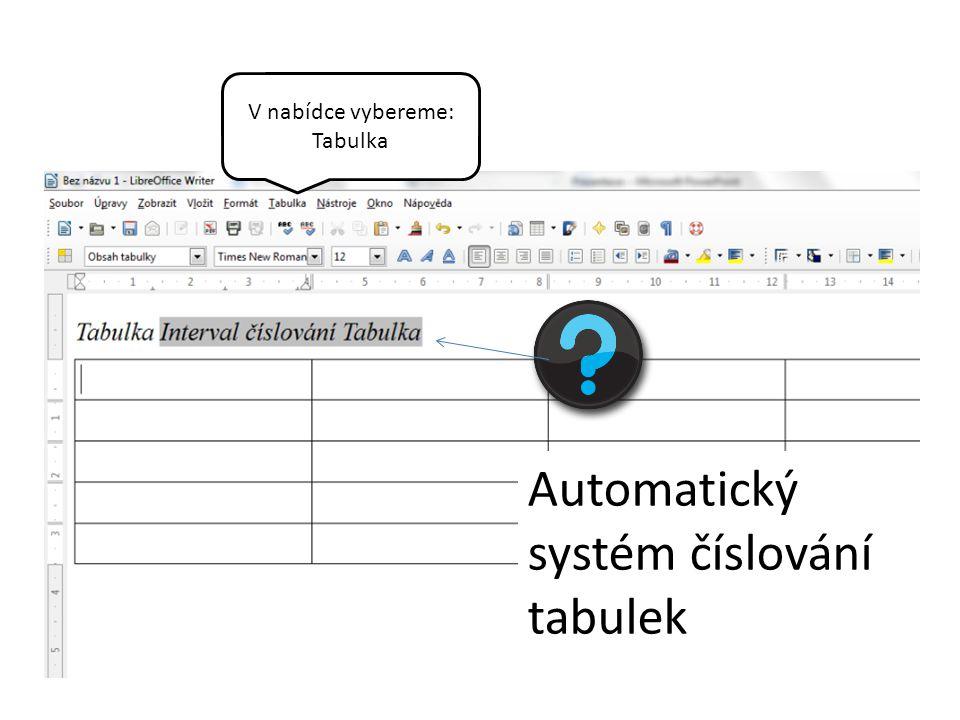 V nabídce vybereme: Tabulka Automatický systém číslování tabulek