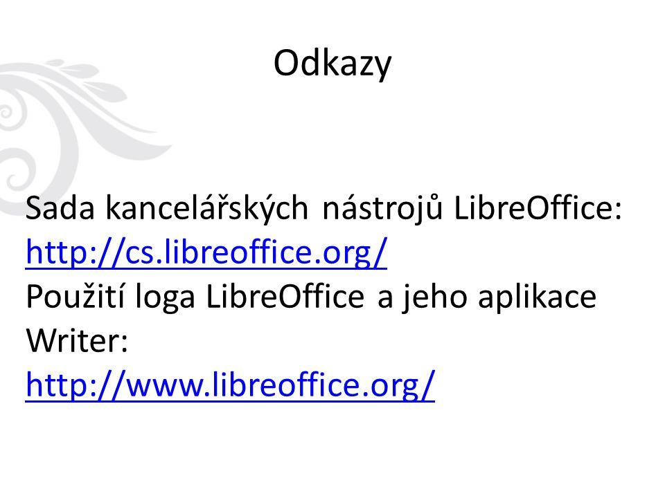 Odkazy Sada kancelářských nástrojů LibreOffice: http://cs.libreoffice.org/ Použití loga LibreOffice a jeho aplikace Writer: http://www.libreoffice.org/
