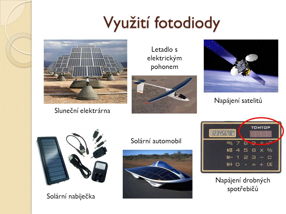 Využití fotodiody Sluneční elektrárna Letadlo s elektrickým pohonem Napájení satelitů Solární automobil Napájení drobných spotřebičů Solární nabíječka