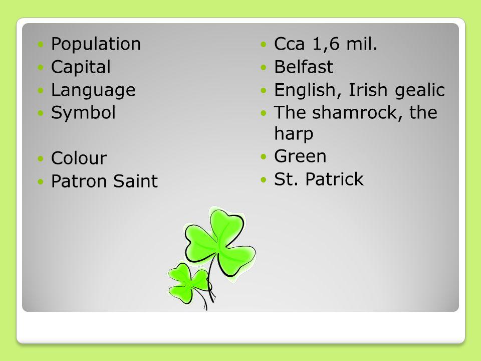 Population Capital Language Symbol Colour Patron Saint Cca 1,6 mil. Belfast English, Irish gealic The shamrock, the harp Green St. Patrick