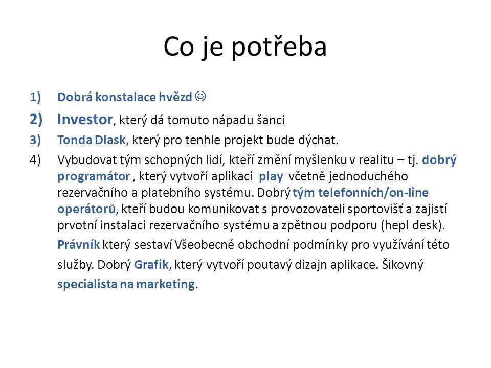 Co je potřeba 1)Dobrá konstalace hvězd 2)Investor, který dá tomuto nápadu šanci 3)Tonda Dlask, který pro tenhle projekt bude dýchat.