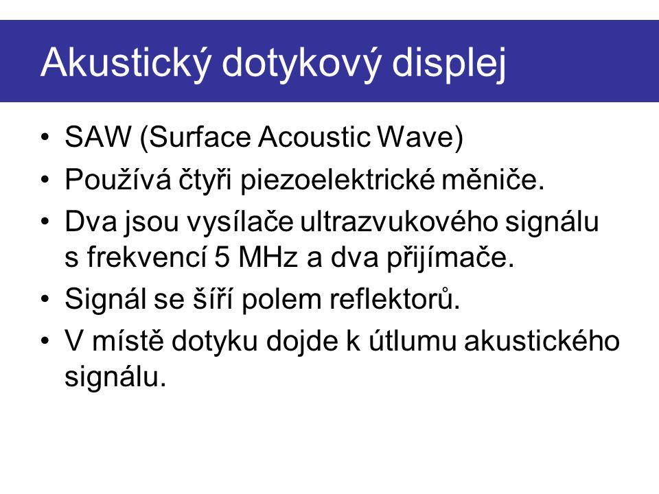 Akustický dotykový displej SAW (Surface Acoustic Wave) Používá čtyři piezoelektrické měniče. Dva jsou vysílače ultrazvukového signálu s frekvencí 5 MH