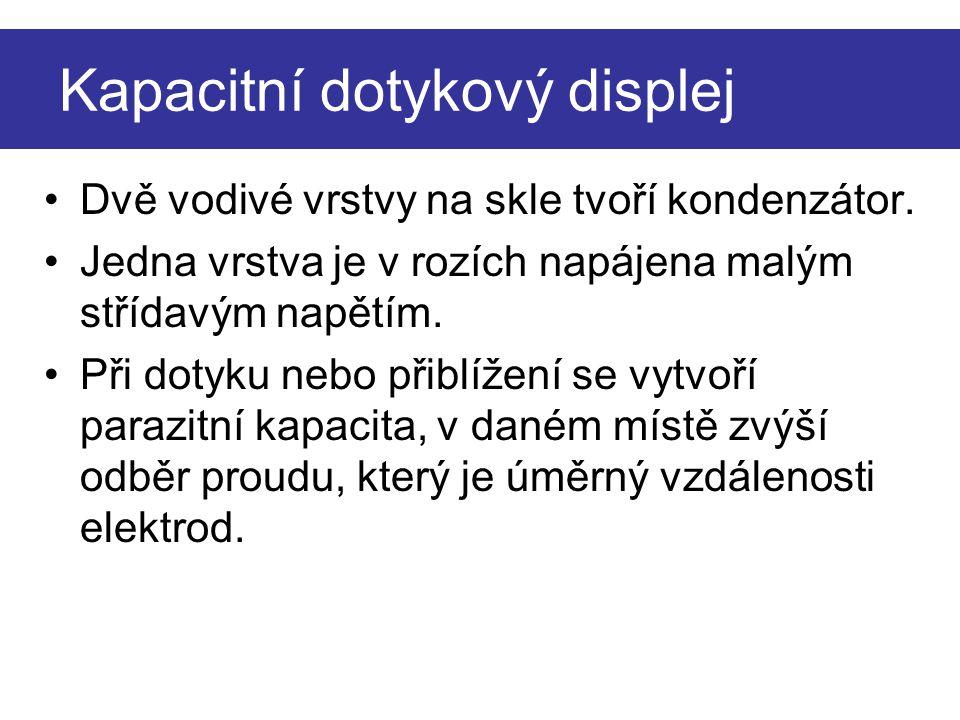 Principiální schéma kapacitního dotykového displeje. parazitní kapacita