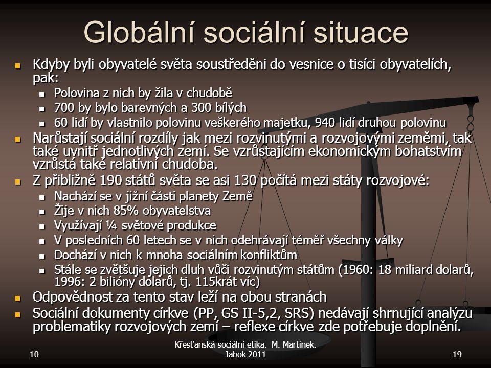 10 Křesťanská sociální etika. M. Martinek. Jabok 201119 Globální sociální situace Kdyby byli obyvatelé světa soustředěni do vesnice o tisíci obyvatelí