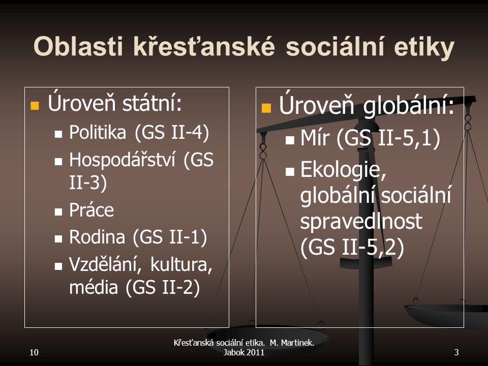 10 Křesťanská sociální etika. M. Martinek. Jabok 20113 Oblasti křesťanské sociální etiky Úroveň státní: Politika (GS II-4) Hospodářství (GS II-3) Prác