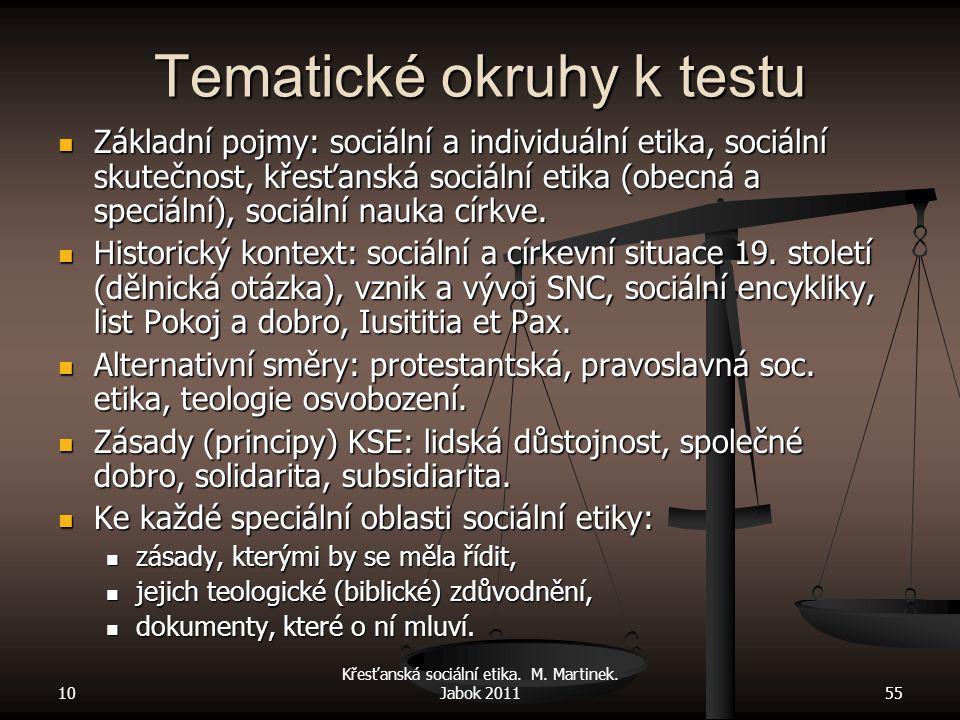 10 Křesťanská sociální etika. M. Martinek. Jabok 201155 Tematické okruhy k testu Základní pojmy: sociální a individuální etika, sociální skutečnost, k
