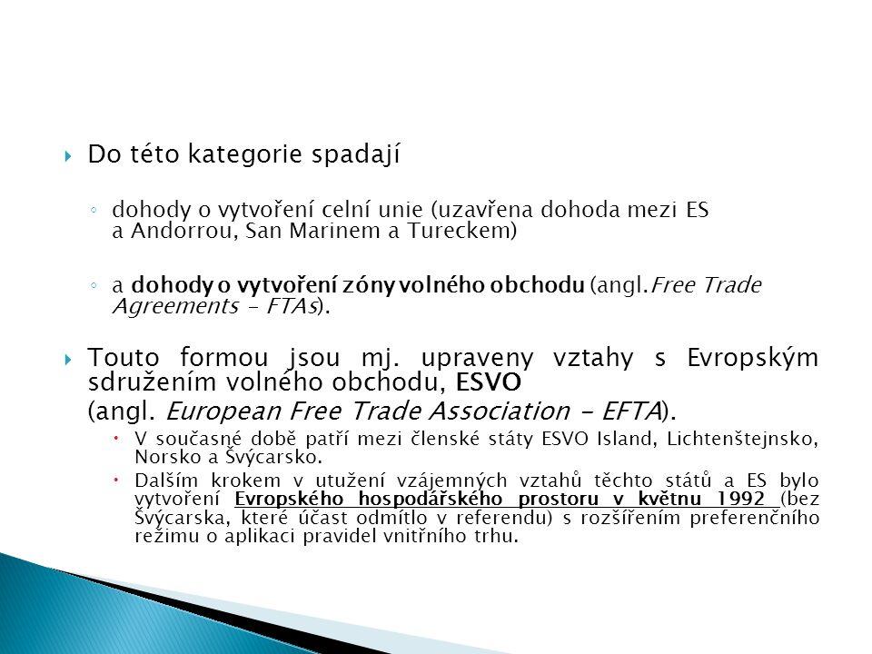  Do této kategorie spadají ◦ dohody o vytvoření celní unie (uzavřena dohoda mezi ES a Andorrou, San Marinem a Tureckem) ◦ a dohody o vytvoření zóny volného obchodu (angl.Free Trade Agreements - FTAs).