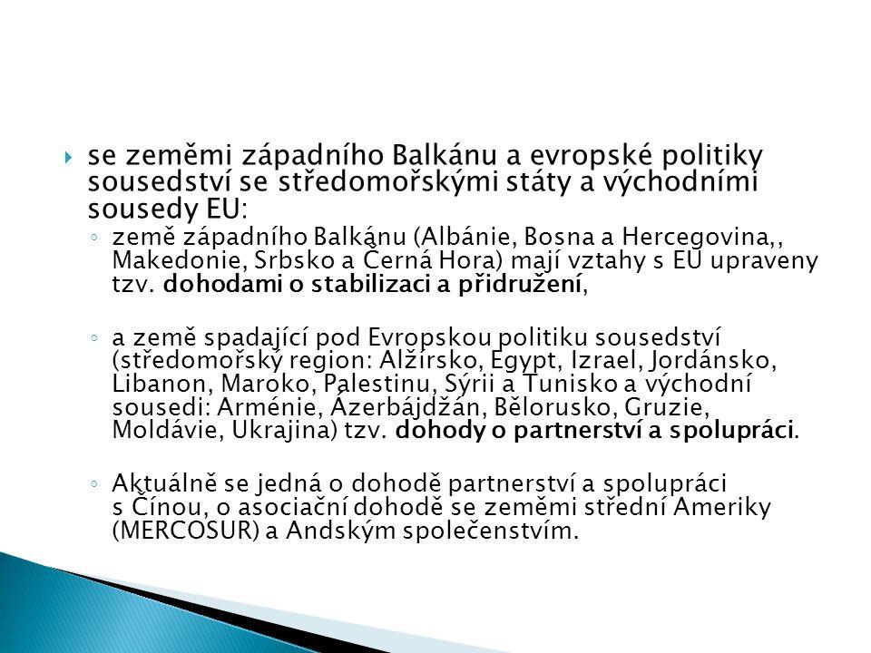  se zeměmi západního Balkánu a evropské politiky sousedství se středomořskými státy a východními sousedy EU: ◦ země západního Balkánu (Albánie, Bosna a Hercegovina,, Makedonie, Srbsko a Černá Hora) mají vztahy s EU upraveny tzv.