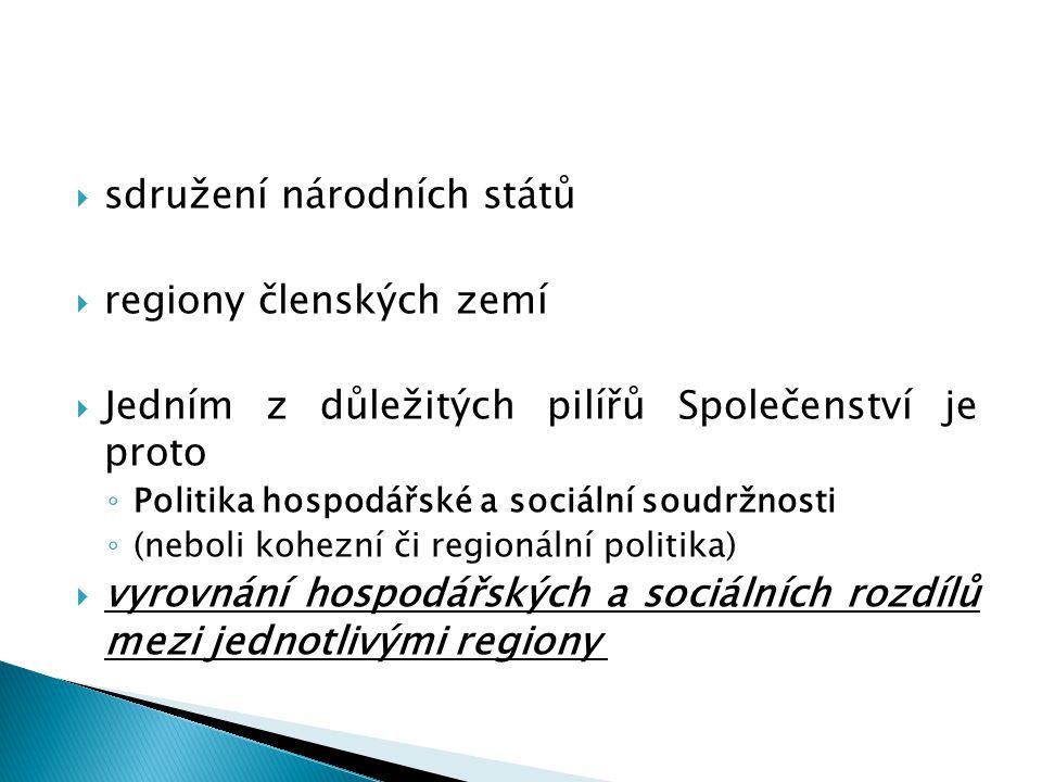  sdružení národních států  regiony členských zemí  Jedním z důležitých pilířů Společenství je proto ◦ Politika hospodářské a sociální soudržnosti ◦ (neboli kohezní či regionální politika)  vyrovnání hospodářských a sociálních rozdílů mezi jednotlivými regiony