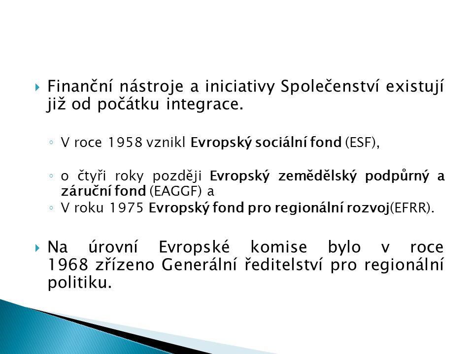  Finanční nástroje a iniciativy Společenství existují již od počátku integrace. ◦ V roce 1958 vznikl Evropský sociální fond (ESF), ◦ o čtyři roky poz