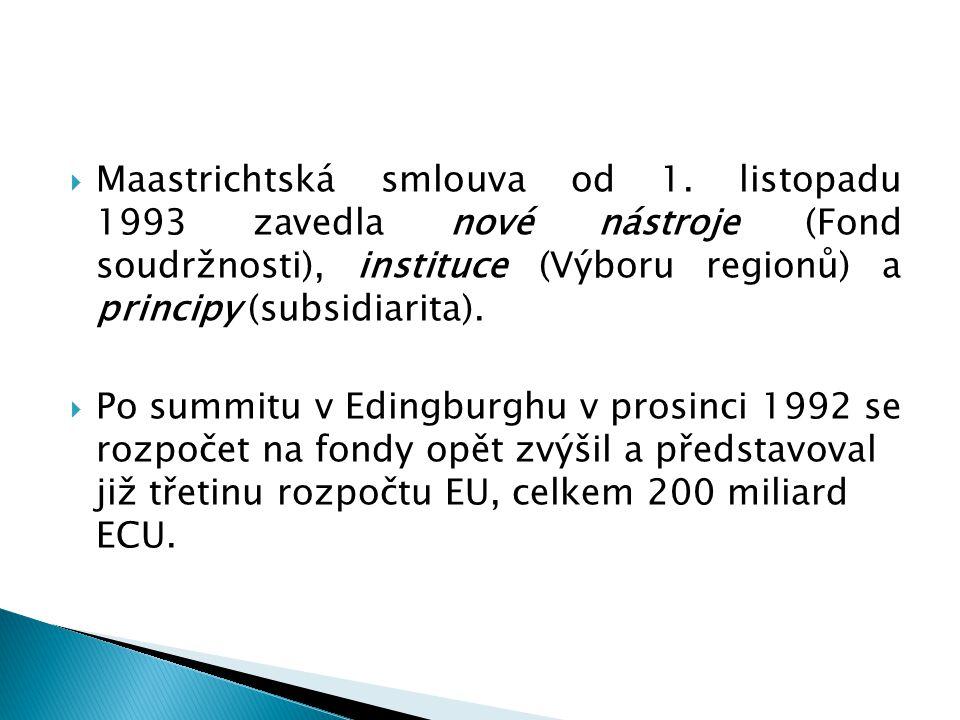  Maastrichtská smlouva od 1. listopadu 1993 zavedla nové nástroje (Fond soudržnosti), instituce (Výboru regionů) a principy (subsidiarita).  Po summ