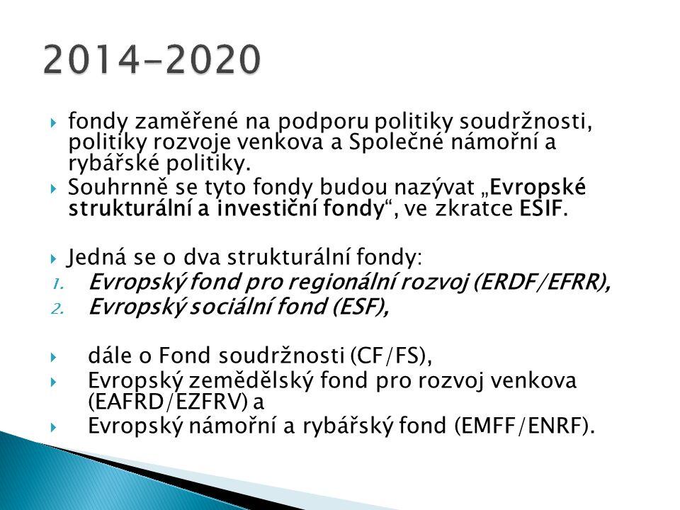  fondy zaměřené na podporu politiky soudržnosti, politiky rozvoje venkova a Společné námořní a rybářské politiky.  Souhrnně se tyto fondy budou nazý