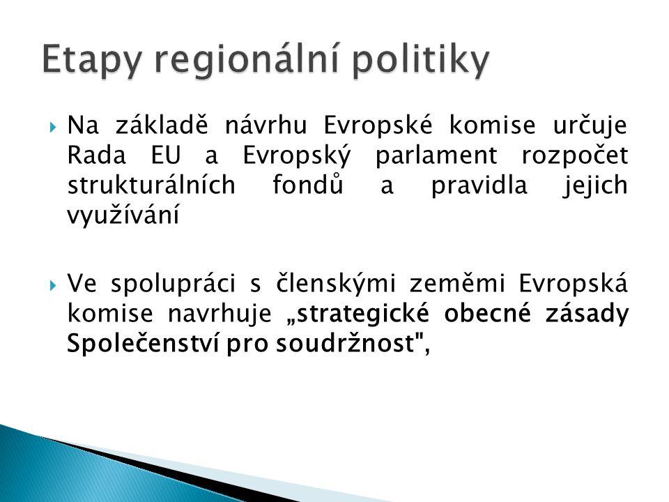 """ Na základě návrhu Evropské komise určuje Rada EU a Evropský parlament rozpočet strukturálních fondů a pravidla jejich využívání  Ve spolupráci s členskými zeměmi Evropská komise navrhuje """"strategické obecné zásady Společenství pro soudržnost ,"""
