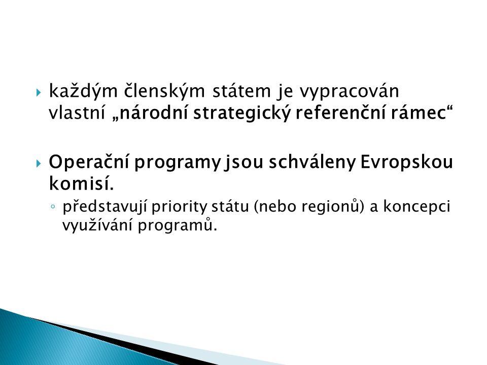 """ každým členským státem je vypracován vlastní """"národní strategický referenční rámec""""  Operační programy jsou schváleny Evropskou komisí. ◦ představu"""